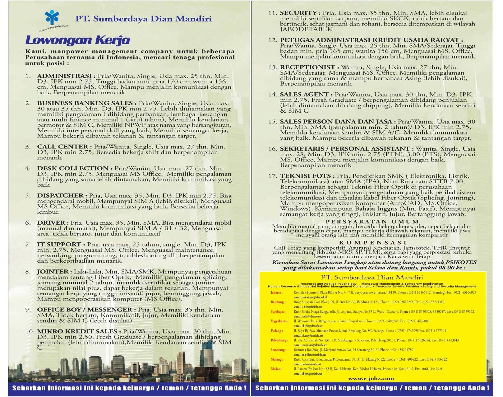 Lowongan Kerja Administrasi IT Sales, sekretaris, resepsionis, teknisi Fots, SMA, SMK, STM, D3