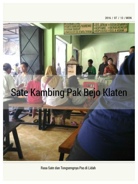 Nikmatnya Makan Sate Kambing di Sate Kambing Pak Bejo Klaten
